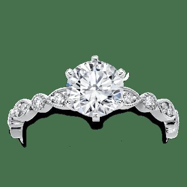 Vintage Leaf Diamond Engagement Setting in 18K Rose Gold