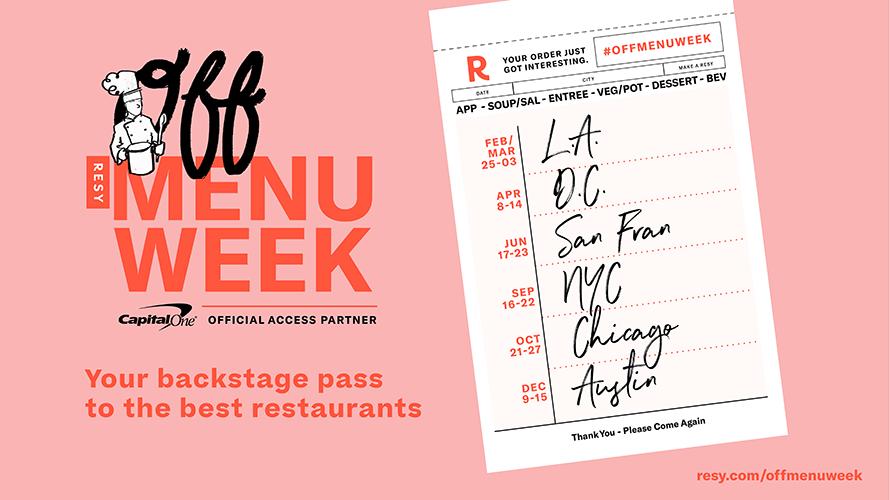 RESY Partners con Capital One para debutar una nueva clase de Restaurant Week