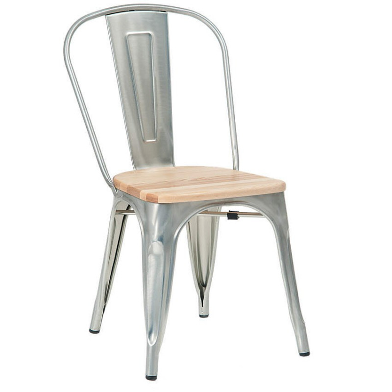 steel net chair cosco high model 03354 bistro style metal in silver finish with natural wood seat
