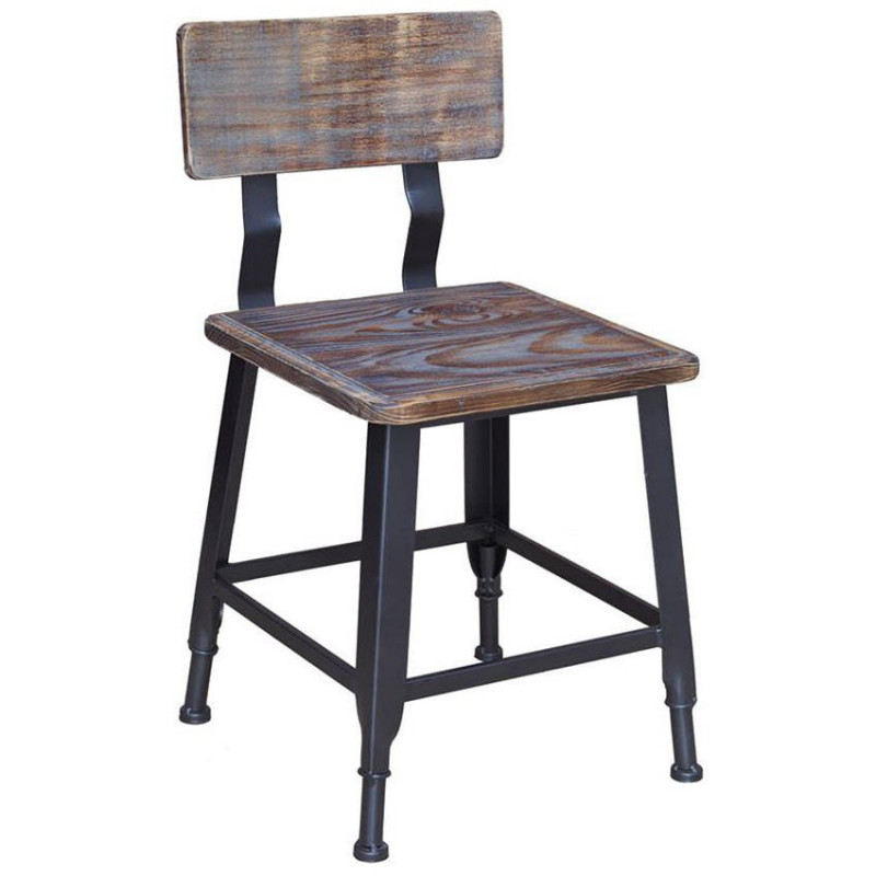 Industrial Metal Chair with Distressed Walnut Wood Back  Seat