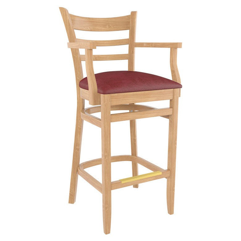 bar chairs with arms and backs aluminum dining premium us made ladder back restaurant stool
