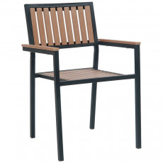 outdoor restaurant chairs chair arm covers amazon patio furniture commercial grade black metal armchair with natural finish vertical slat plastic teak