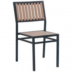 black metal patio chairs the original air chair outdoor with natural finish vertical slat plastic teak
