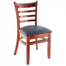 wooden restaurant chairs high back leather premium commercial grade solid wood us made ladder chair