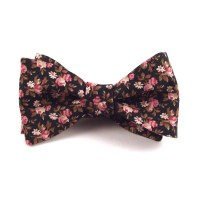 Black, Pink & Gold-Brown Floral Bow Tie - Aisle Society