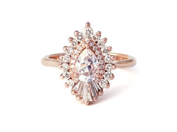 Heidi Gibson Rhapsody Pear Halo Engagement Ring  Aisle Society