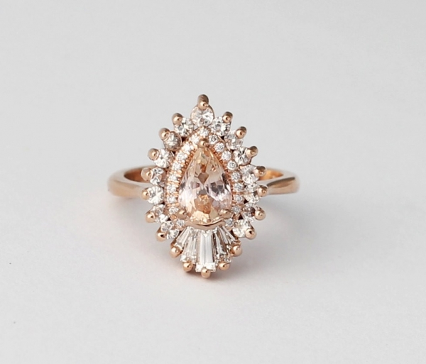 Heidi Gibson Rhapsody Pear Halo Engagement Ring  Aisle