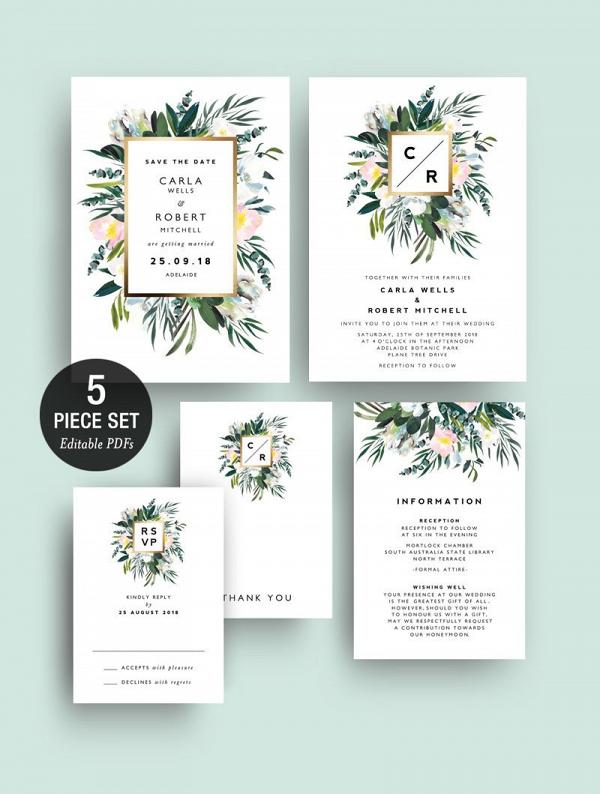 Protea Greenery Wedding Invitation Printable Aisle Society