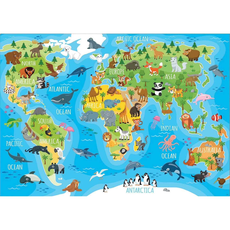 Puzzle 150 Pieces Mappemonde Animaux