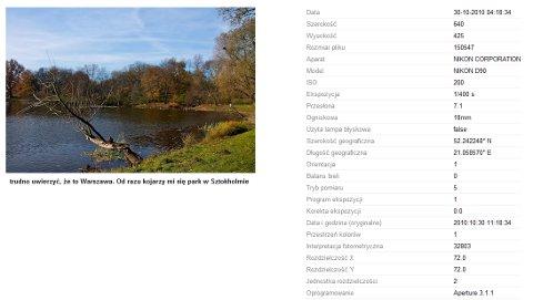Picasa Web Albums - dane EXIF
