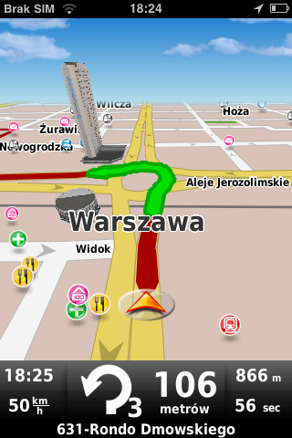 MapaMap for iPhone - widok Warszawy