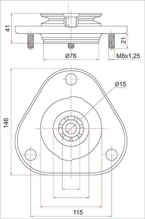 SAT ST4860912420 Опора FR стойки TOYOTA COROLLA/FIELDER