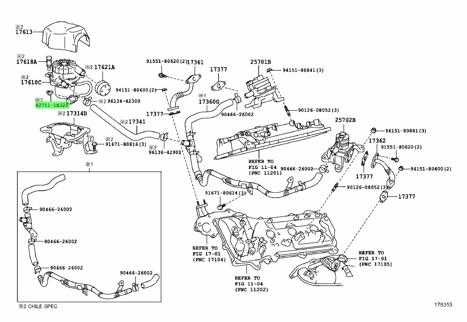Genuine Toyota 82711-1E320 (827111E320) CLAMP, WIRING