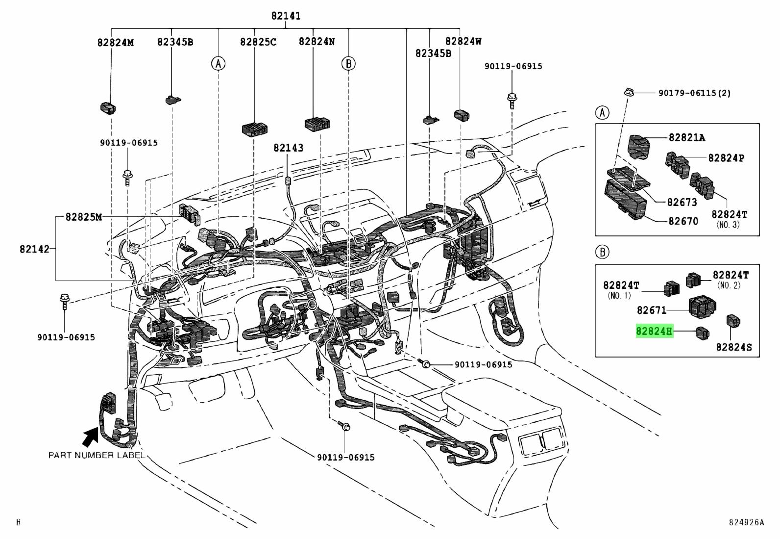 Genuine Toyota 82824-20110 (8282420110) CONNECTOR, WIRING