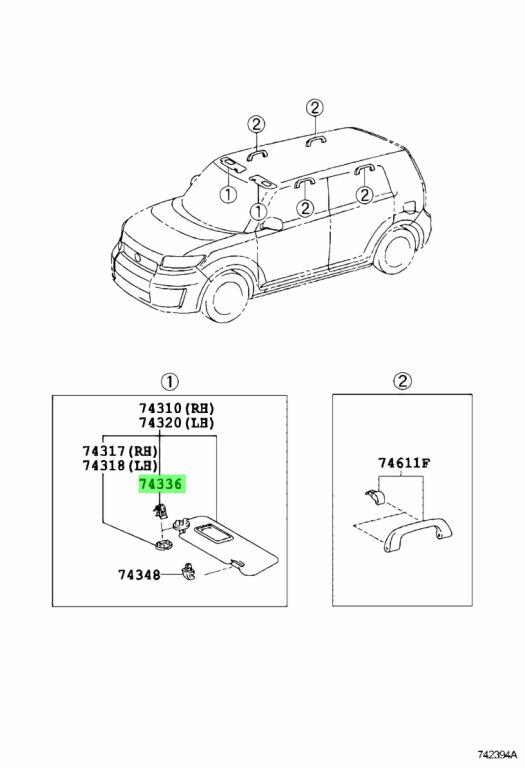 Genuine Toyota Visor Clip 74336-52010