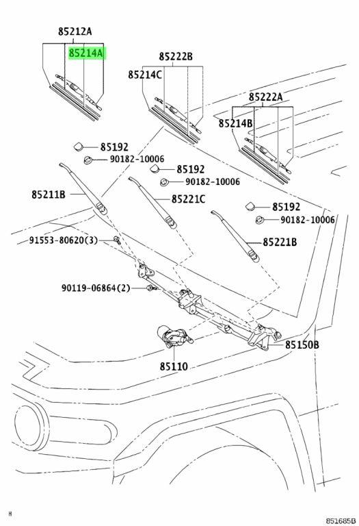 Buy Genuine Toyota 85214-68011 (8521468011) Rubber, Wiper