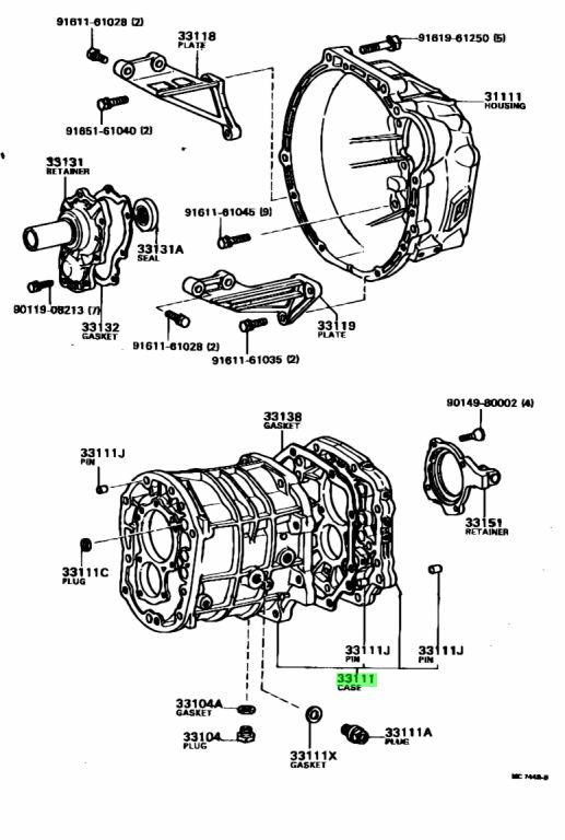 Genuine Toyota 33101-22030 (3310122030) CASE, MANUAL