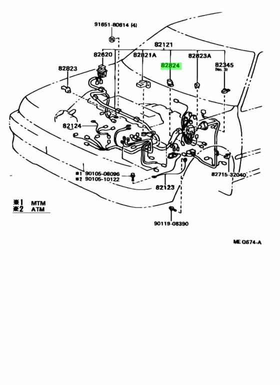 Genuine Toyota 82824-20050 (8282420050) CONNECTOR, WIRING