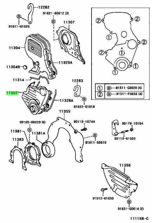 Genuine Toyota 11310-28081 (1131028081) COVER SUB-ASSY