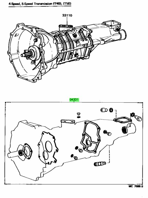 Genuine Toyota 04331-14030 (0433114030) GASKET KIT, MANUAL