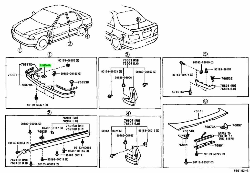Genuine Toyota 76854-44010 (7685444010) CLIP, REAR SPOILER
