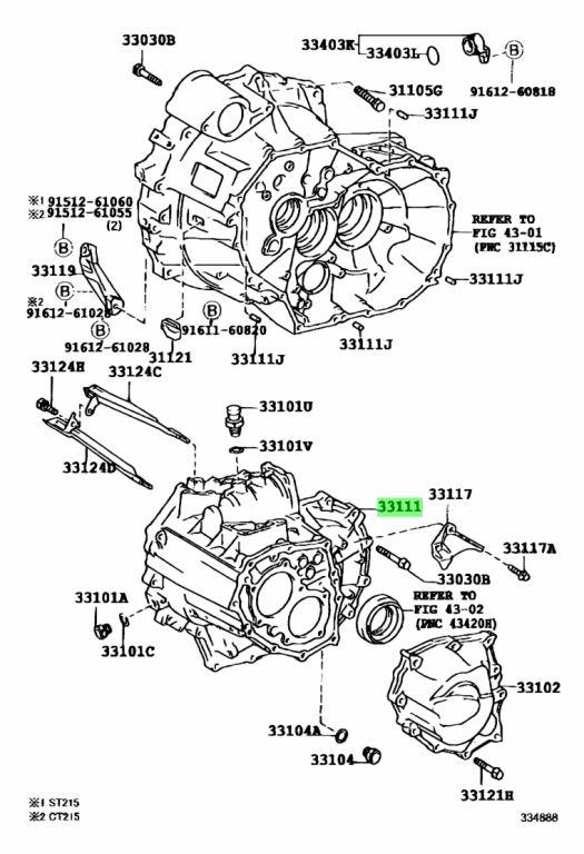 Genuine Toyota 33111-16063 (3311116063) CASE, MANUAL