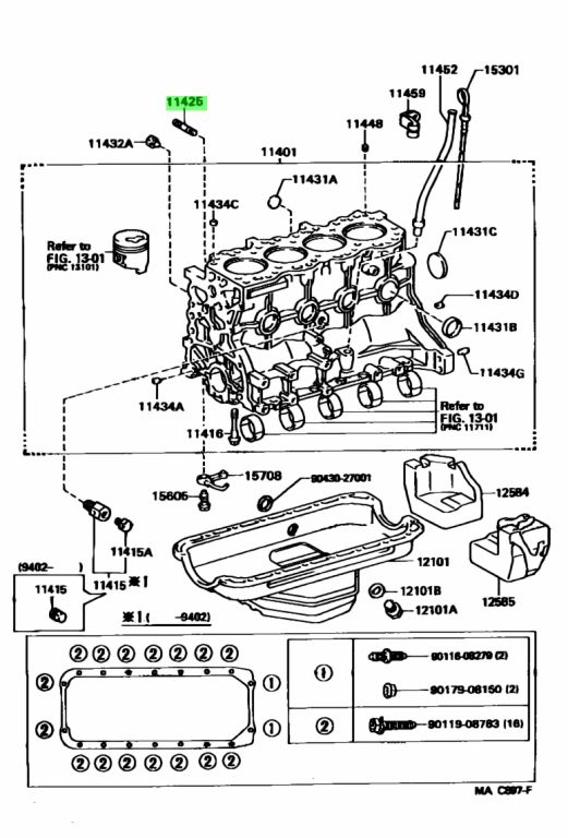 Genuine Toyota 90116-06141 (9011606141) BOLT, STUD (FOR