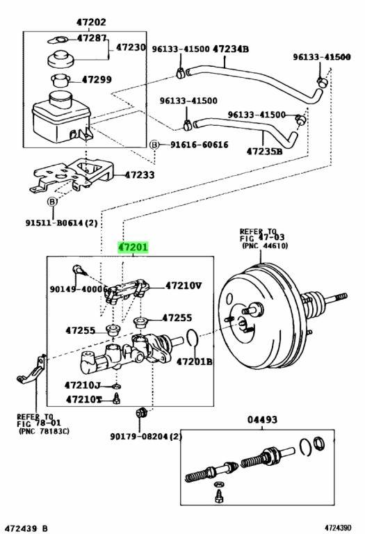 Genuine Toyota 47201-44130 (4720144130) CYLINDER SUB-ASSY
