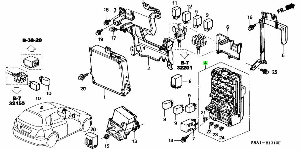 Genuine Honda 38200-S6A-J11 (38200S6AJ11) BOX ASSY., FUSE