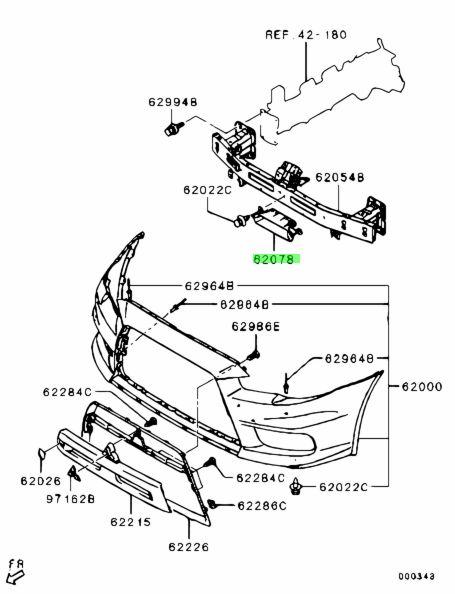 Genuine Mitsubishi 6405A101 DUCT,FR BUMPER AIR GUIDE,CTR