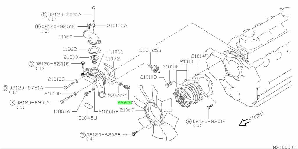 Genuine Nissan 22630-G2404 (22630G2404) ENGINE COOLANT