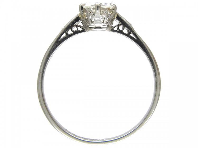 Art Deco Solitaire Diamond Ring with Diamond Baguette