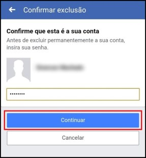 Confirmar exclusão do Facebook
