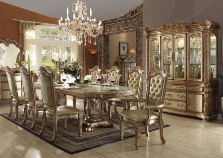 Acme Furniture Vendome Collection 6300010tccc 10 Pc Dining Room Set With Dining Table 6 Side Chairs 2 Arm Chairs China Cabinet In Gold Patina Finish Appliances Connection
