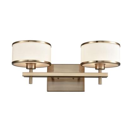 11616/2 Utica 2 Light Vanity in Satin Brass with Opal White