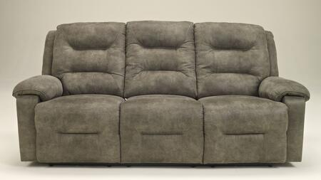 Sink into the plush comfort of the reclining sofa surrounded in soft faux leather upholstery. The sofa features a unique divided back design that offers supportive seating along with thick padded arms for extra comfort. Stitching and welt cord detail...