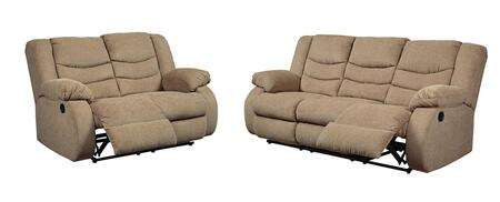 The Tulen living room set features a waterfall back design and doubly plump pillow top arms for the ultimate comfort. Combined with soft chenille fabric and ample seating room - the comfort possibilities are endless. Recliners manually recline with t...