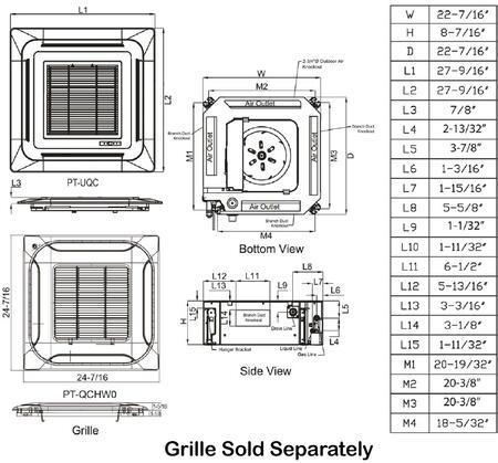 LG LC127HV4 Ceiling Cassette Single Zone Mini Split System