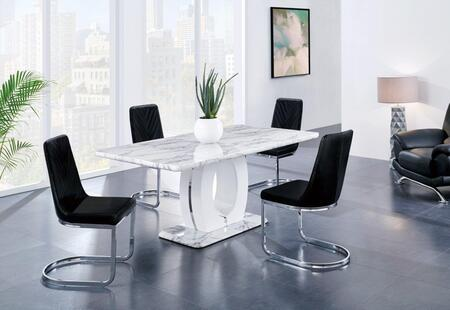Global Furniture Usa D894dt4d1067dc Bl 5 Piece Dining Room Set With Dining Table And 4 Dining Chairs In White And Black Appliances Connection