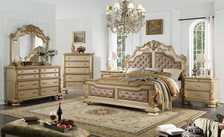 Cosmos Furniture Miranda Collection Miranda King Bed Set 6 Piece Bedroom Set With King Size Bed Dresser Mirror Chest And 2 Nightstands In Gold Appliances Connection