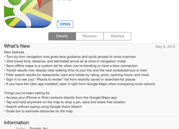 Google Maps trên iOS được cập nhật lên 3.0 hỗ trợ nhiều tính năng mới