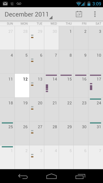 The Android 4 look and feel, demonstrated in the Calendar application