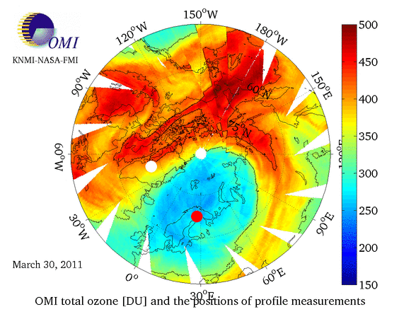 Unusual northern winter puts ozone hole above the Arctic