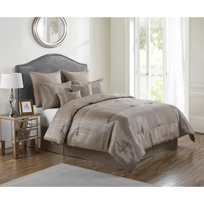 bern taupe 8 piece jacquard comforter