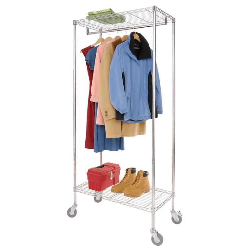 commercial garment rack chrome at home