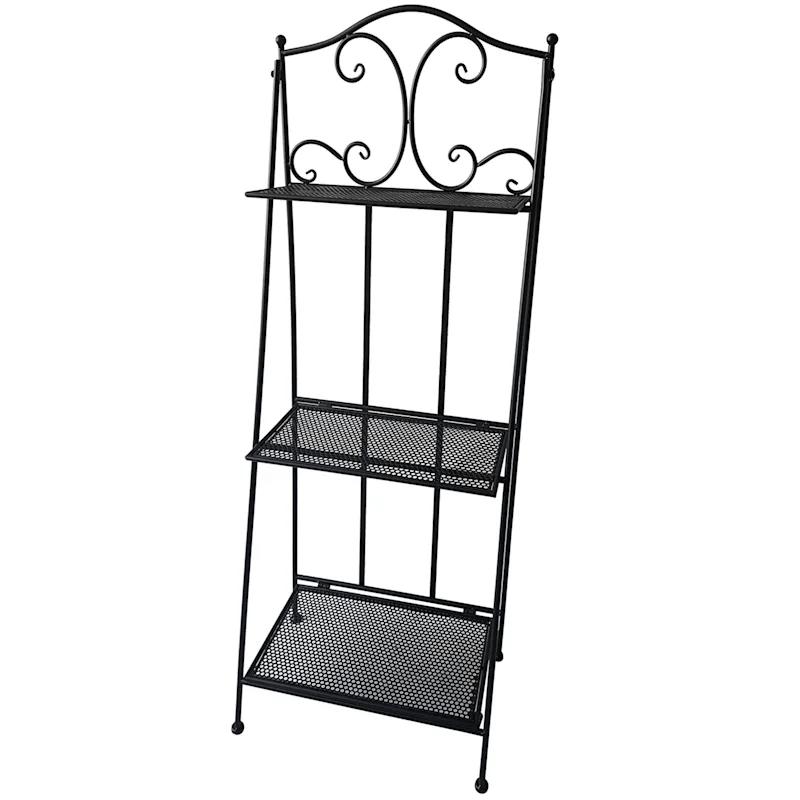 black 3 tier scroll metal baker rack