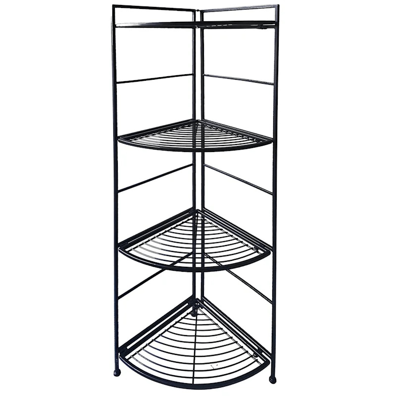 metal 4 tier folding corner rack with