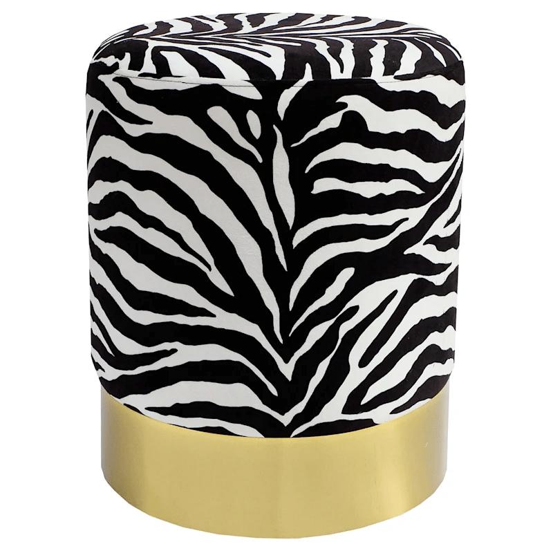 dion zebra print round ottoman at home