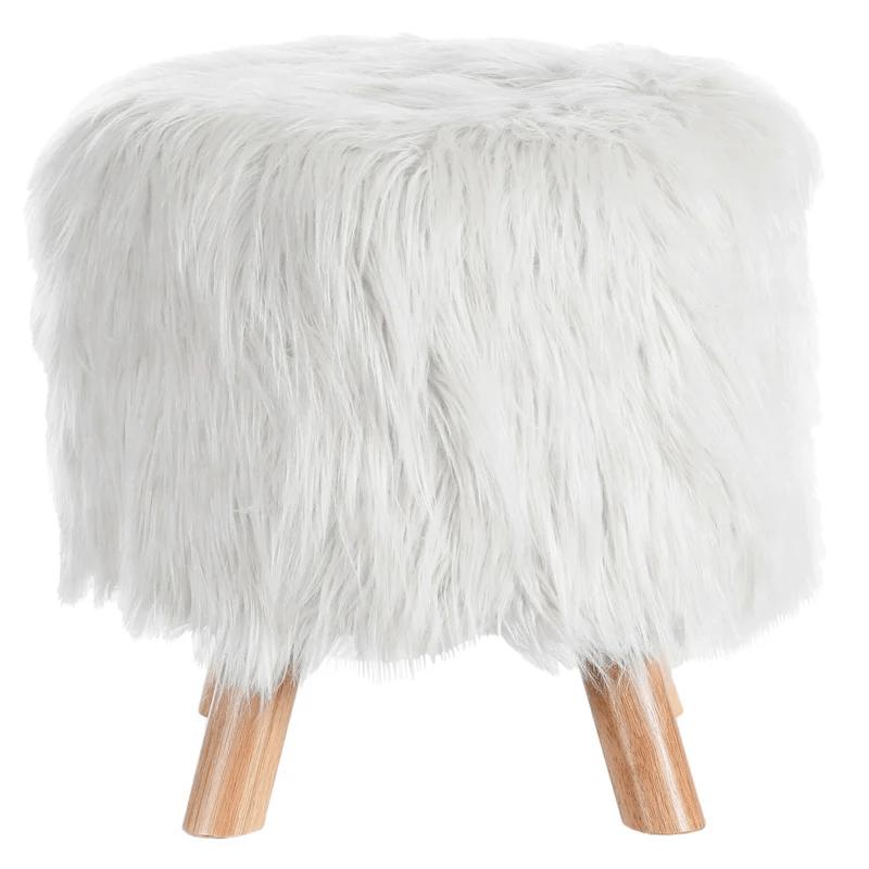 khal faux fur ottoman white at home