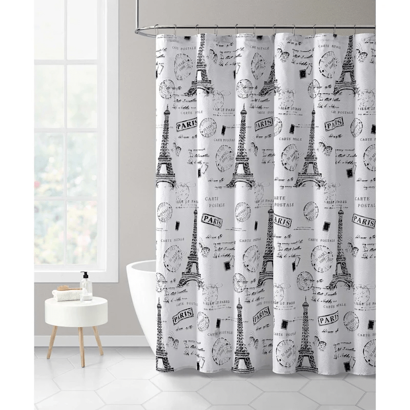 black 13 piece shower curtain set